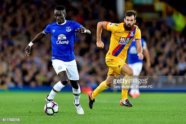 Idrissa Gueye and Joe Ledley during the Barclays Premier League match between Everton and Crystal Palace at Goodison Park on September 30 2016 in...