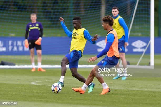 Idrissa Gueye and Mason Holgate during the Everton FC training session at USM Finch Farm on May 11 2018 in Halewood England