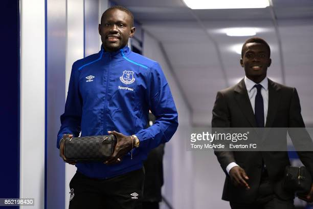Idrissa Gueye and Oumar Niasse arrives before the Premier League match between Everton and AFC Bournemouth at Goodison Park on September 23 2017 in...