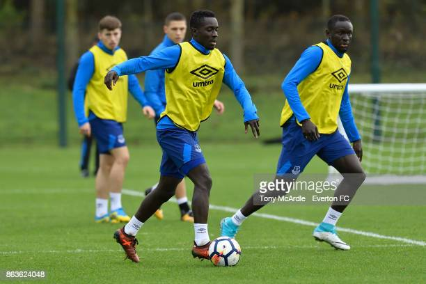 Idrissa Gueye and Oumar Niasse during the Everton training session at USM Finch Farm on October 20 2017 in Halewood England