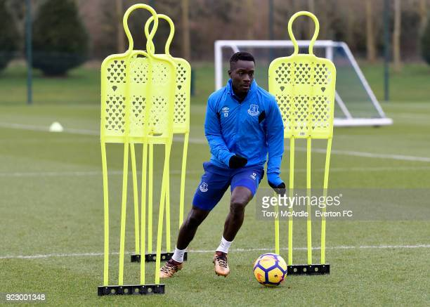 Idrissa Gueye during the Everton FC training session at USM Finch Farm on February 21 2018 in Halewood England