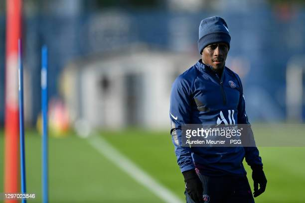 Idrissa Gueye looks on during a Paris Saint-Germain training session at Ooredoo Center on January 18, 2021 in Paris, France.
