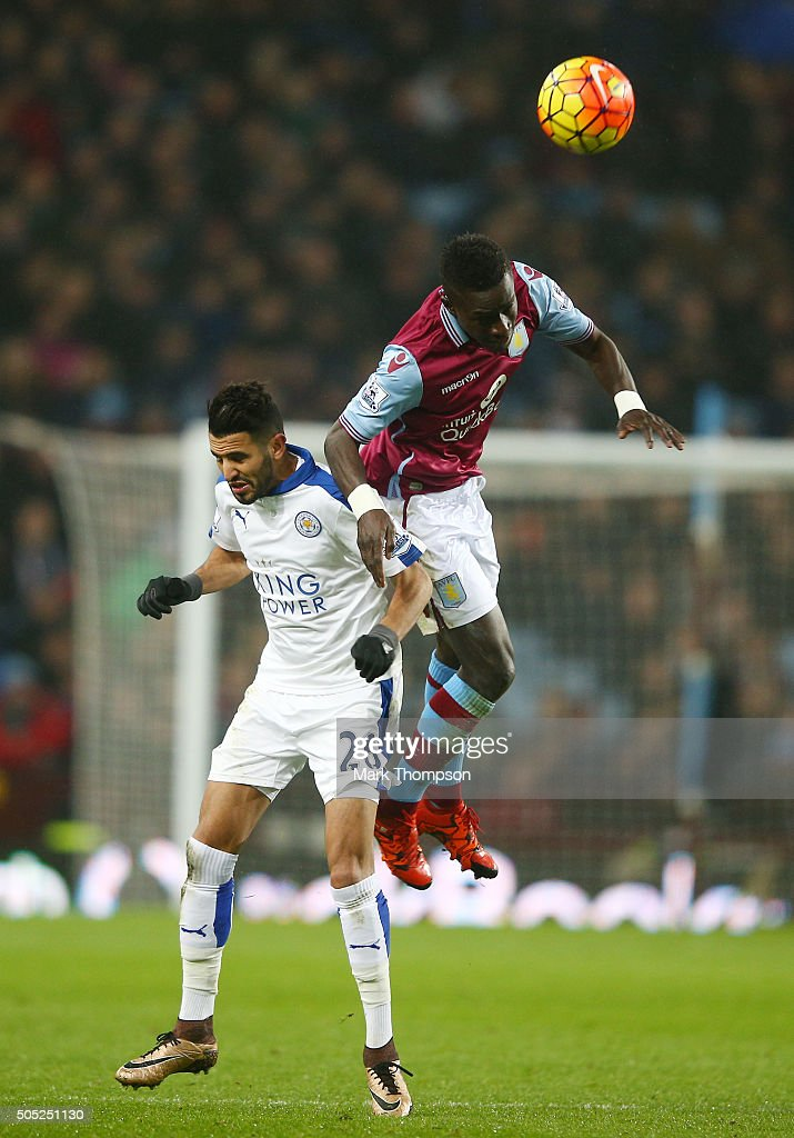 Idrissa Gueye of Aston Villa and Riyad Mahrez of Leicester City compete for the ball during the Barclays Premier League match between Aston Villa and Leicester City at Villa Park on January 16, 2016 in Birmingham, England.