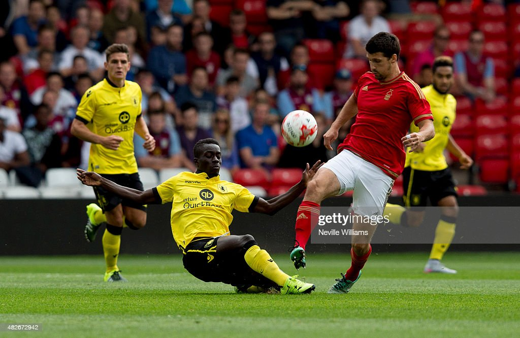 Idrissa Gueye of Aston Villa during the pre season friendly match between Nottingham Forest and Aston Villa at the City Ground on August 01, 2015 in Nottingham, England.