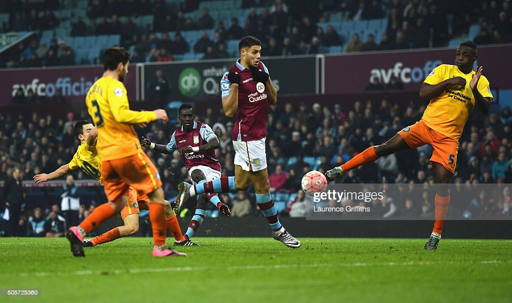 Idrissa Gueye (3rd L) of Aston Villa scores his team's second goal during the Emirates FA Cup Third Round Replay match between Aston Villa and Wycombe Wanderers at Villa Park on January 19, 2016 in Birmingham, England.