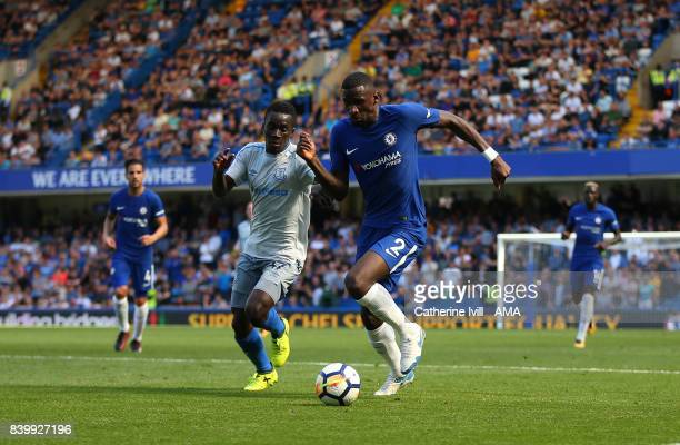 Idrissa Gueye of Everton and Antonio Rudiger of Chelsea during the Premier League match between Chelsea and Everton at Stamford Bridge on August 27...