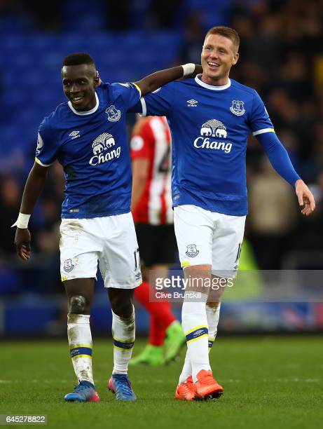 Idrissa Gueye of Everton and James McCarthy of Everton celebrate after the Premier League match between Everton and Sunderland at Goodison Park on...