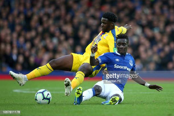 Idrissa Gueye of Everton and Jeffery Schlupp of Crystal Palace battle for the ball during the Premier League match between Everton FC and Crystal...