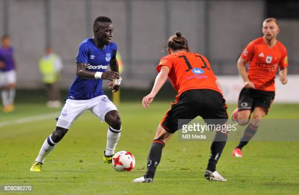 Idrissa Gueye of Everton and Matej Kochan of Ruzomberok in action during the UEFA Europa League Qualifier between MFK Ruzomberok and Everton on...