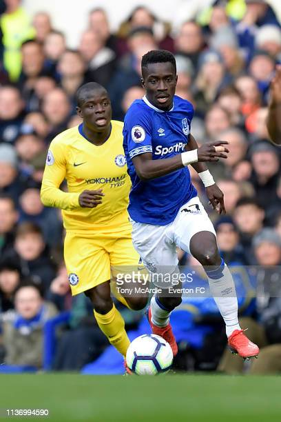Idrissa Gueye of Everton and Ngolo Kante during the Premier League match between Everton and Chelsea at Goodison Park on March 17 2019 in Liverpool...
