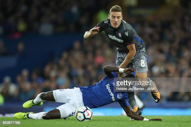 Idrissa Gueye of Everton and Nikola Vlasic of Hadjuk Split during the UEFA Europa League Qualifying PlayOffs round first leg match between Everton FC...