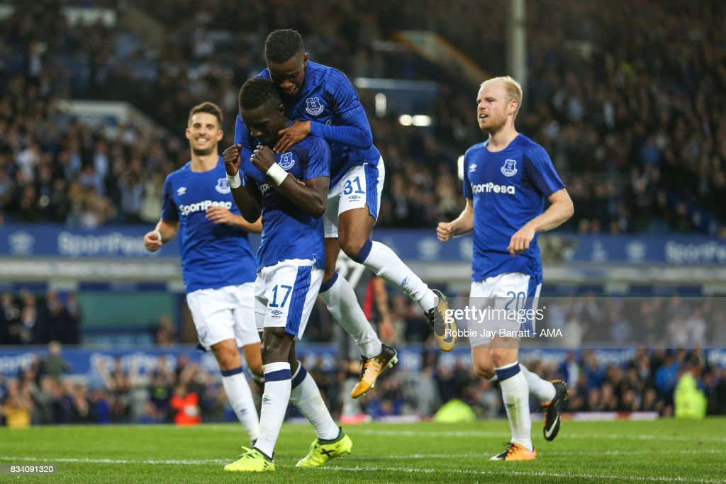 Idrissa Gueye of Everton celebrates after scoring a goal to make it 2-0 during the UEFA Europa League Qualifying Play-Offs round first leg match between Everton FC and Hajduk Split at Goodison Park on August 17, 2017 in Liverpool, United Kingdom.
