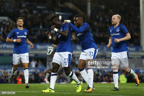 Idrissa Gueye of Everton celebrates after scoring a goal to make it 20 during the UEFA Europa League Qualifying PlayOffs round first leg match...