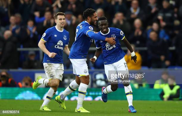 Idrissa Gueye of Everton celebrates scoring his sides first goal with Ashley Williams of Everton during the Premier League match between Everton and...