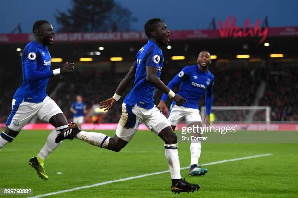 Idrissa Gueye of Everton celebrates scoring his team's opening goal during the Premier League match between AFC Bournemouth and Everton at Vitality...