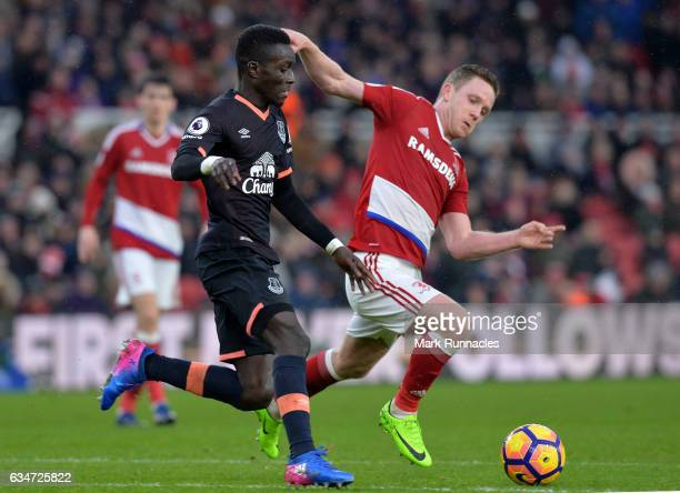 Idrissa Gueye of Everton is tackled by Adam Forshaw of Middlesbrough during the Premier League match between Middlesbrough and Everton at Riverside...