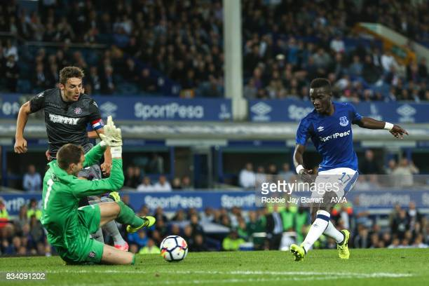 Idrissa Gueye of Everton scores a goal to make it 20 during the UEFA Europa League Qualifying PlayOffs round first leg match between Everton FC and...
