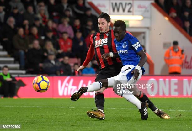 Idrissa Gueye of Everton scores his team's opening goal during the Premier League match between AFC Bournemouth and Everton at Vitality Stadium on...