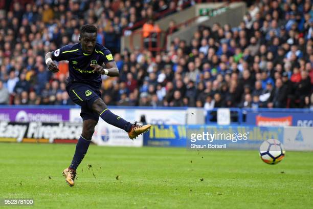 Idrissa Gueye of Everton shoots and scores his side's second goal during the Premier League match between Huddersfield Town and Everton at John...