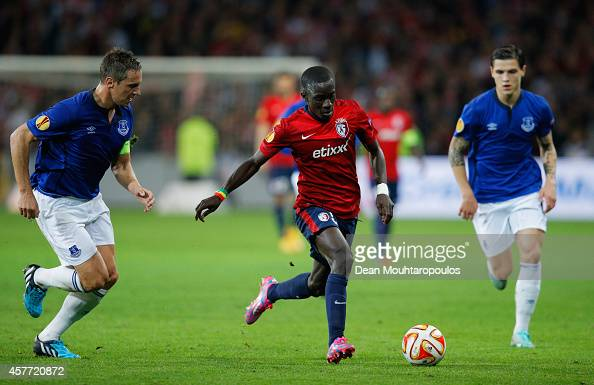 Idrissa Gueye Of Lille Goes Between Phil Jagielka And