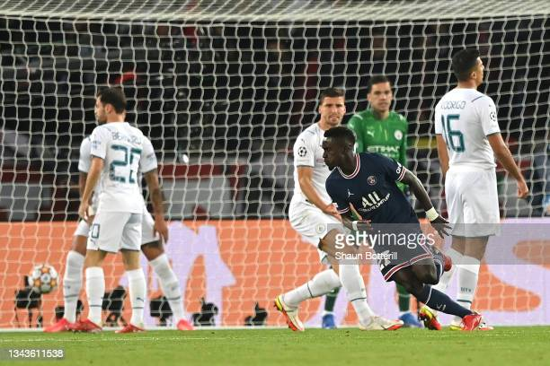 Idrissa Gueye of Paris Saint-Germain celebrates after scoring their sides first goal during the UEFA Champions League group A match between Paris...