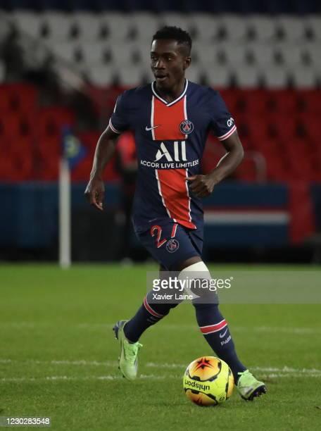 Idrissa Gueye of Paris Saint-Germain in action during the Ligue 1 match between Paris Saint-Germain and RC Strasbourg at Parc des Princes on December...