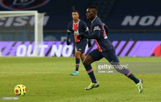 Idrissa Gueye of Paris Saint-Germain in action during the Ligue 1 match between Paris Saint-Germain and Stade Brest at Parc des Princes on January 9,...