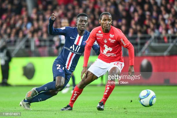 Idrissa GUEYE of PSG and Ibrahima DIALLO of Brest during the Ligue 1 match between Brest and Paris Saint Germain at Stade FrancisLe Ble on November 9...
