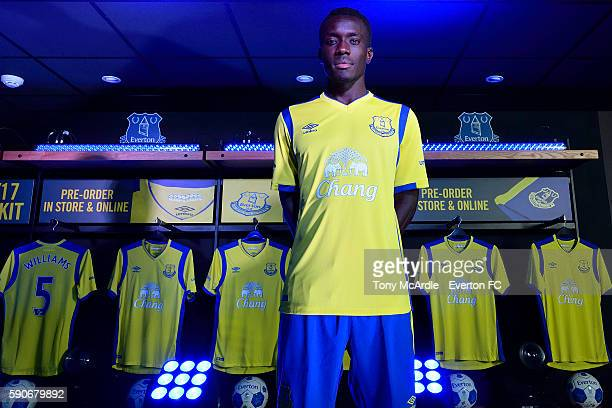 Idrissa Gueye on stage during the Everton third kit launch at Goodison Park on August 16 2016 in Liverpool England