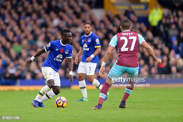 Idrissa Gueye on the ball during the Barclays Premier League match between Everton and West Ham at Goodison Park on October 30 2016 in Liverpool...
