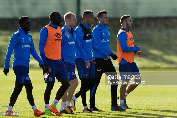 Idrissa Gueye Oumar Niasse Davy Klaassen David Henen Morgan Schneiderlin and Nikola Vlasic during the Everton training session at USM Finch Farm on...