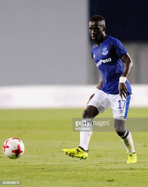 Idrissa Gueye reacts during the UEFA Europa League Qualifier between MFK Ruzomberok and Everton on August 3 2017 in Ruzomberok Slovakia