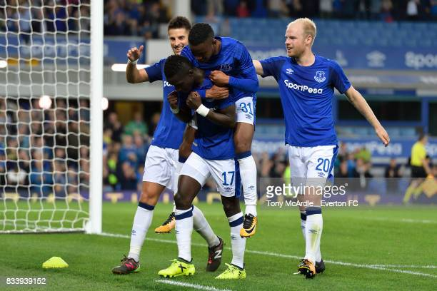 Idrissa Gueyeof Everton celebrates his goal wth Kevin Mirallas Ademola Lookman and Davy Klaassen during the UEFA Europa League Qualifying PlayOff...