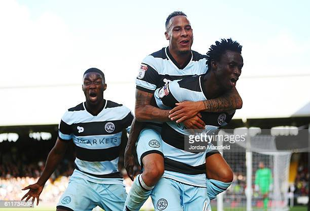 Idrissa Sylla of Queens Park Rangers celebrates scoring his sides second goal during the Sky Bet Championship match between Fulham and Queens Park...