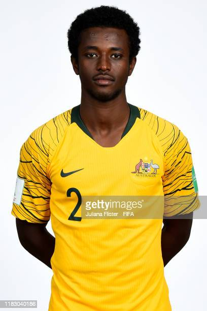 Idrus Abdulahi poses during the U17 Australia team presentation⁄ on October 23, 2019 in Goiania, Brazil.