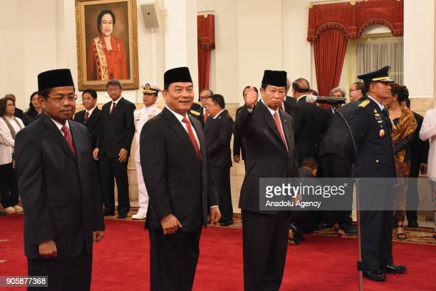 Idrus Marham Moeldoko Agum Gumelar and Yuyu Sutisna attend an inauguration ceremony at the State Palace in Jakarta Indonesia on January 17 2018 The...