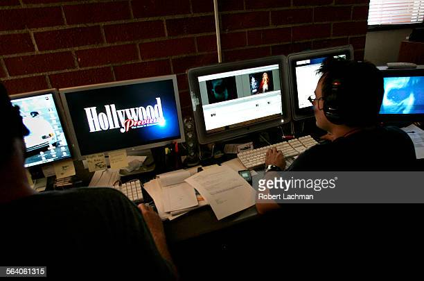 Ids for iMeadia Damon O'Steen and Branden Waits and work on the computer editing materal for iMedia International Inc at their Santa Monica offices...