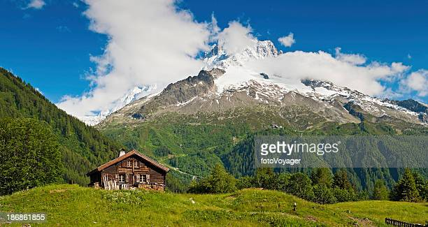 Idyllic Alpine chalet summer mountain meadow panorama Alps