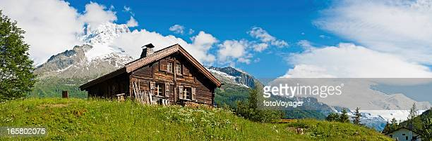 Idyllic Alpine chalet summer wildflower meadow panorama
