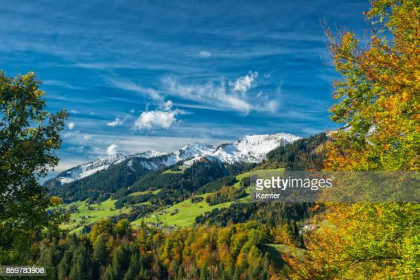 idyllic and beautiful landscape in autumn - vorarlberg stock photos and pictures