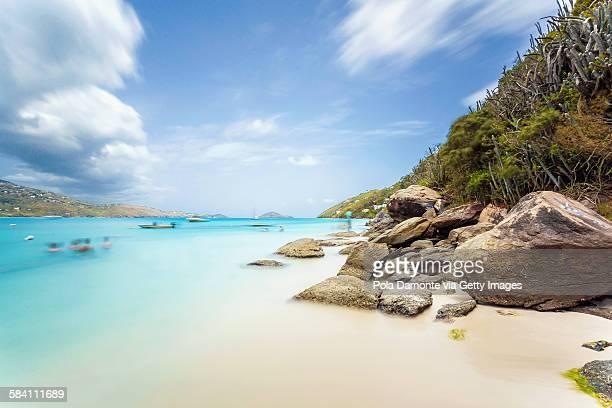 idyllic beach at magens bay, saint thomas - magens bay stock photos and pictures