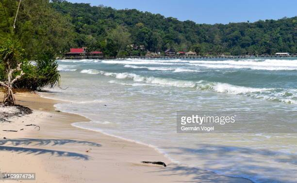 idyllic beach in saracen bay of koh rong samloem tropical island in cambodia - cambodia stock pictures, royalty-free photos & images
