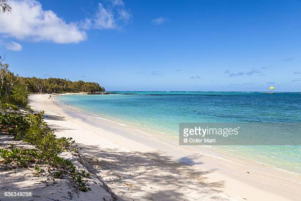 Idyllic beach in the Deer island, off the coast of Mauritius island in Africa