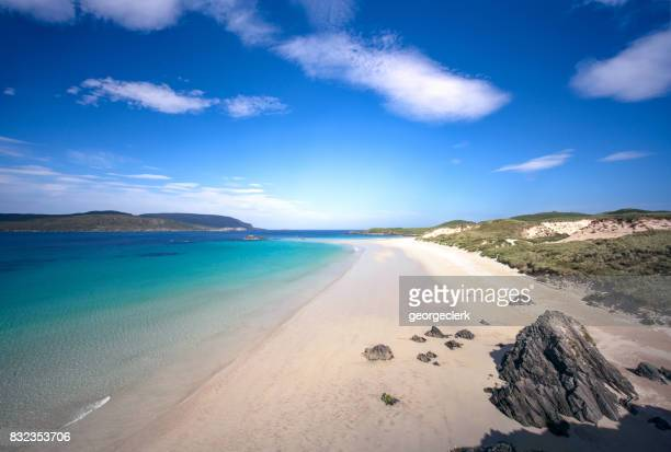 idyllic beach on scotland's north coast - coastline stock photos and pictures