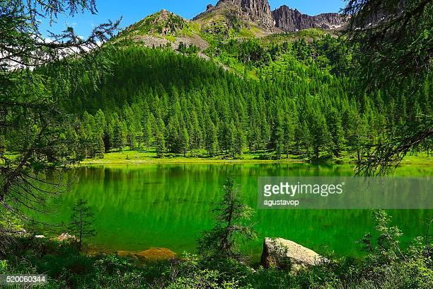 Idyllische blau Alpine Lake Carezza, Dolomiten, Italien Tirol Alpen