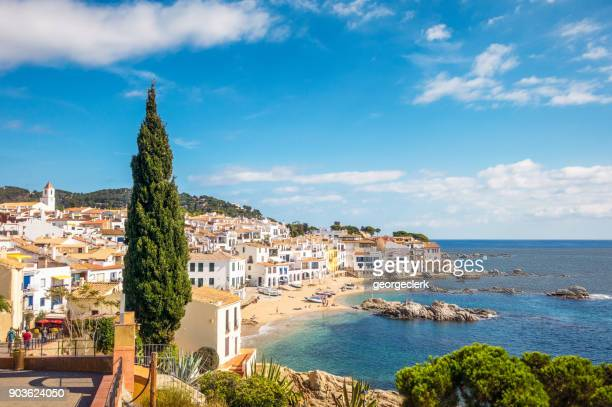 idyllic costa brava seaside town in girona province, catalonia - coastline stock photos and pictures