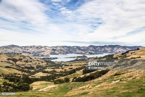 Idyllic countryside in the Banks peninsula in New Zealand