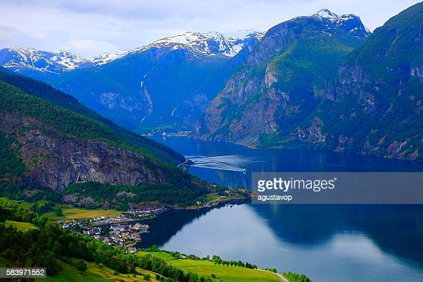 Idyllic fjord landscape panorama, dramatic sunrise, Norway, Scandinavia
