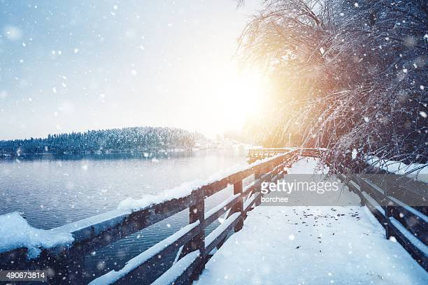 idyllic frozen footpath - winter weather stock photos and pictures