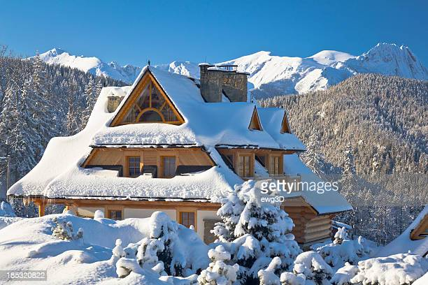 idyllic holiday mountain chalet in snow - zakopane stock pictures, royalty-free photos & images
